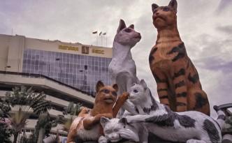 Katzenstatue in Kutching, Malaysia