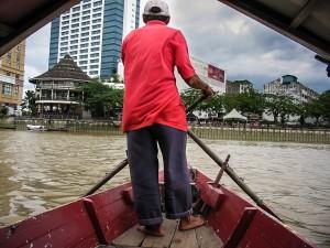 Sampan Boort auf dem Sungai Santubong in Kuching