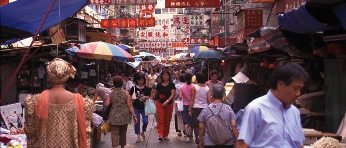 Buntes Treiben in Hong Kongs Straßenmärkten