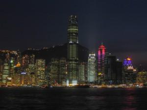 Hong Kong Island Skyline bei Nacht